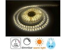 (5,98 EUR/m) LED Lichtband 5m 72W IP65 3000K dimmbar - Band Strip 300x 5050 Chip