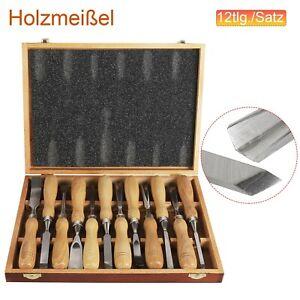 12 Stk Schnitzmesser Schnitzwerkzeug Hohleisen Schnitzeisen Schnitzen Holz BOX