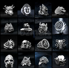 Men's Women Silver Titanium Steel Gothic Punk Rings Charm Vintage Biker Ring