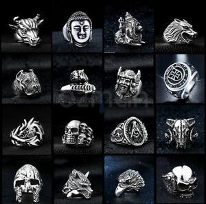 Men's Women Silver Titanium Steel Gothic Punk Rings Charm Vintage Biker Ring