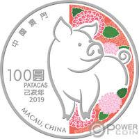 PIG Lunar Year 5 Oz Silver Coin 100 Patacas Macao Macau 2019