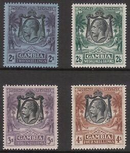 GAMBIA 1922 #136 #137 #138 #140 PRISTINE MNHMUH MINT GV STAMPS
