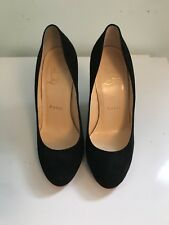 Christian Louboutin Black Suede Ron Ron Wedge, Size 35 5