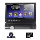 "7"" Car GPS Stereo Single 1 Din MP3 DVD Player Bluetooth Radio USB SWC SD Camera"