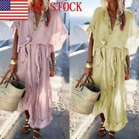 US Women Beachwear Lotus Leaf Long Swimsuit Cover up Caftan Beach Dress GIFT