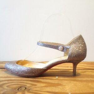 38.5 / 8 US - Christian Louboutin Glitter Ankle Wrap Kitten Heels Shoes 0923SB