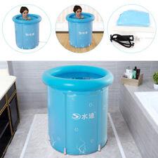 Folding Portable Spa PVC Bathtub Warm Inflatable Bath Tub Barrel Blue w/Pump USA