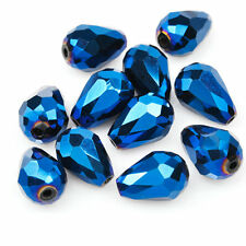 20pcs Crystal Beads Teardrop Special Effects fit Necklace DIY Jewelry Blue 12mm