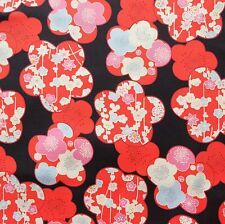 Ume Apricot Flower Black Amunzen Japanese Cotton Fabric by Half Metre 50cm TG132