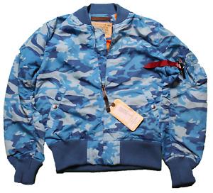 Alpha Industries MA-1 TT Jacke Bomberjacke Gr. M Blau Camo Camouflage Musterteil
