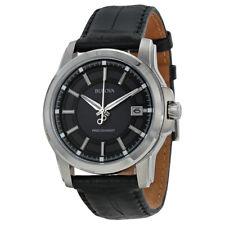 Bulova Precisionist Grey Dial Black Leather Mens Watch 96B158