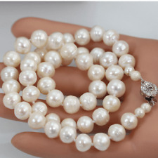 """Real Pearls Necklace Round White Ch 00004000 arming 18"""" 9-10mm Fashion Cultured Freshater"""