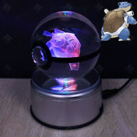 Crystal Poke ball Pokemon Blastoise 3D LED Night Light Table Desk Lamp Gift