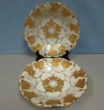 Vintage Pair of Meissen scalloped bowls with leaf motif heavy gilding MINT