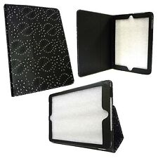 Para Apple Ipad Air Negro Bling Diamante Brillantina Piel Artificial Funda