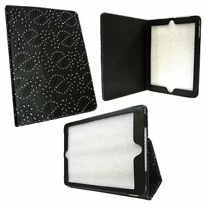 CASE FOR APPLE IPAD AIR BLACK DIAMOND BLING GLITTER PU LEATHER COVER