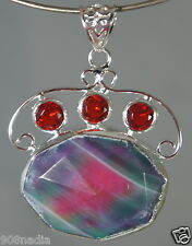 MODERNIST SILVER PLATE,FACETED BOULDER OPAL,RED RHINESTONES FREE FORM PENDANT