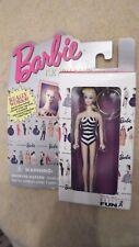 "NIB Mattel, Inc. Barbie Keychain in Original Black/White Striped Bathing Suit 4"""