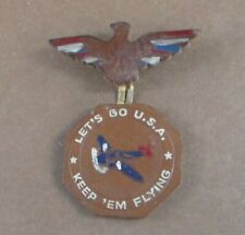 Vintage Let's Go U.S.A Keep 'Em Flying Leather Pin Army Air Corp WWII Era ??