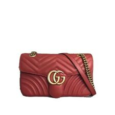 New GG Marmont matelassé small Chain leather crossbody Sling Shoulder bag Red
