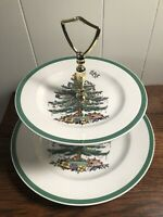 SPODE 2-Tier Christmas Tree Tidbit/Sandwich Tray ENGLAND Green Trim