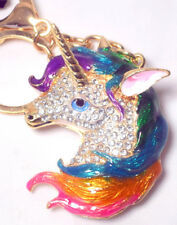 Unicorn Keyring Handbag Charm Diamante Rhinestone Ladies MULTICOLOUR PINK EAR UK