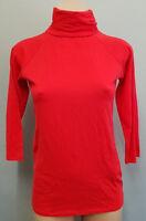 BNWT Womens Sz M 10 Smart Zara Brand Red 3/4 Sleeve Roll Neck Stretch Top