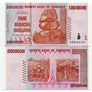 Zimbabwe 5 Billion Dollars AB Prefix 2008 UNC Money Inflation Currency P84