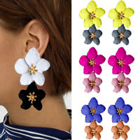 Fashion Jewelry Big Double Flower Mixed Color Earrings For Women  Summer Style