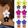 Fashion Jewelry Big Double Flower Mixed Color Earrings For Women Summer Style d