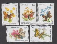 Monaco -Timbres neufs ** - N° 1420 à 1424 - Papillons - 1984 - TB