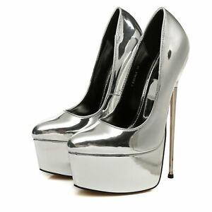 Giaro Damen Herren High Heels Pumps ESCALA Liquid Silber EUR 46 45 44 43 42 41