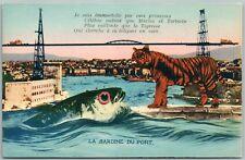 EXAGGERATED FISH & TIGER VINTAGE POSTCARD