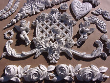 SHABBY & CHIC FURNITURE APPLIQUES LARGE ROSE MOULDING FLEXIBLE $5.95 SHIPPING!