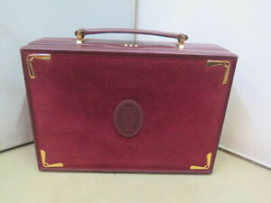 Vintage rare Cartier jewelry travel box leather and Swede Burgundy from the 80s'