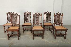 6 CARVED OAK FRENCH ANTIQUE HUNT DINING ROOM CHAIRS - BAE15