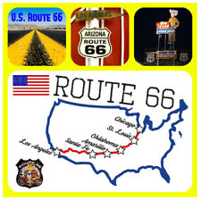 US ROUTE 66 MAP, USA - SOUVENIR NOVELTY BIG SQUARE FRIDGE MAGNET, SIGHTS / GIFTS