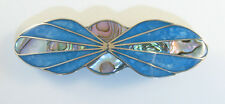 """Alpaca hair clip / Barette with abalone shell inlay blue color 3 1/2"""" long"""