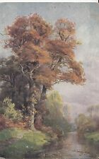 CH07. Vintage German Postcard.Autumn view of woodlands and stream.