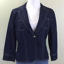 Apostrophe Stretch Denim Jacket Sz 10 Dark Wash Blazer 3/4 Sleeve Womens Sz 10