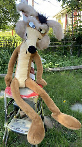 """Vtg LARGE 1971 WILEY COYOTE Warner Bros stuffed Toy 46"""" Tall Wired Pose able"""