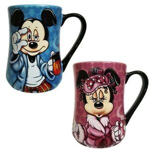Disney Mickey and Minnie Mouse Mornings Coffee Mug Set of 2, Disneyland Paris