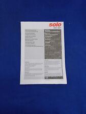 Original Bedienungsanleitung (Auflage 2009) für Solo 633, 637
