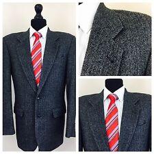 """Mens Hugo James Jacket Blazer Chest 38"""" Long Grey Herringbone Wool   (N68)"""