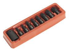 Sealey ak5611 9 piezas m6-m18 Llave de impacto conductor Eje Nervado Set 1.3cm