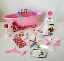 Barbie BATHROOM BATHTUB PLAY SET Accessories Vanity Makeup Hair Dryer Soap Comb