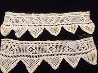 "Antique Lace Trim Crochet Edging Pair Old Salvage Textiles Sewing 15"""