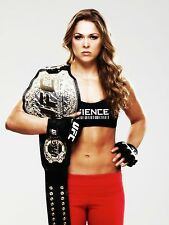 RONDA ROUSEY 8X10 PHOTO UFC CHAMPION MMA PICTURE WITH BELT