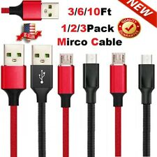Micro USB Fast Charger Cable Braided Cord For OEM Android LG HTC Samsung Charger