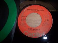 "VG 1977 Bob Welch Sentimental Lady / Hot Love Cold World 7"" 45RPM w/ppr slv"